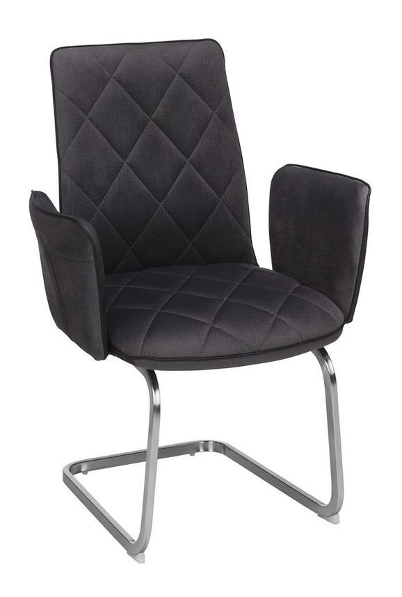 Armlehnstuhl Grau - Edelstahlfarben/Grau, MODERN, Textil/Metall (61/92.5/68cm) - Premium Living