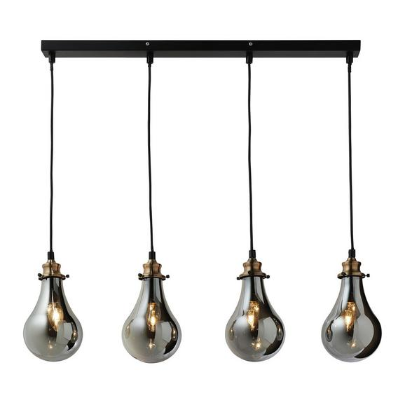 Hängeleuchte max. 25 Watt Schirme Rauchglas 'Luciana' - Messingfarben/Grau, MODERN, Glas (80/13.5/129cm) - Bessagi Home