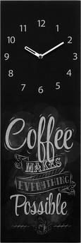 Wanduhr Coffee, ca. 20x60x3,5cm - Schwarz/Weiß, MODERN, Glas/Metall (20/60/3,5cm) - MÖMAX modern living
