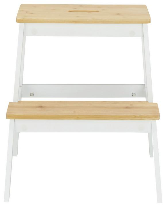 Hocker in Weiß/Naturfarben - Naturfarben/Weiß, MODERN, Holz (43/47/43cm) - MÖMAX modern living