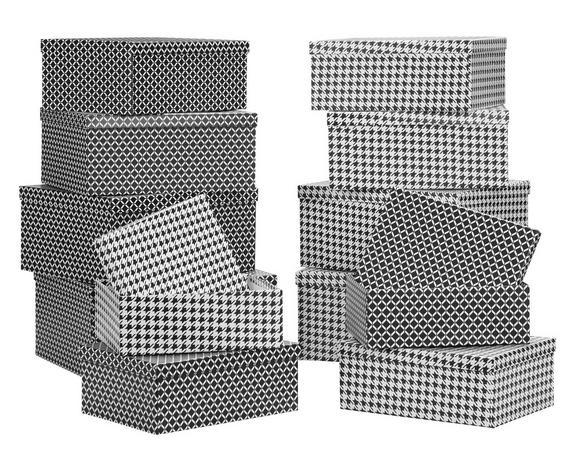 Box mit Deckel Paul aus Papier ca. 32x24x13cm - Schwarz/Weiß, MODERN, Papier (32/24/13cm) - Mömax modern living