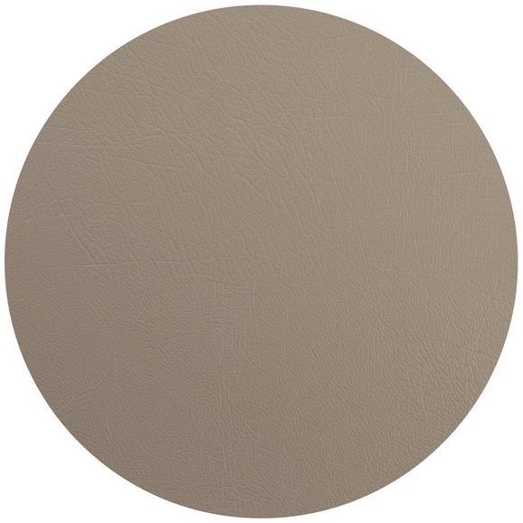 Tischset Jette aus Leder Ø ca. 40cm - Grau, Leder (40cm) - Premium Living