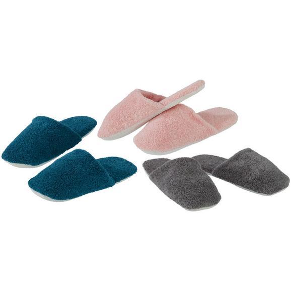 Vendégpapucs Mario - Rózsaszín/Olajkék, Textil - Based