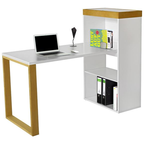 Schreibtisch Weiß - Naturfarben/Weiß, LIFESTYLE, Holz/Holzwerkstoff (140/114/63,8cm) - Premium Living
