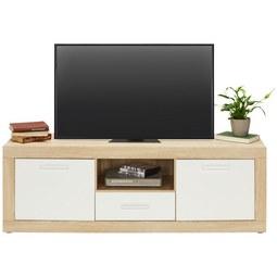 Lowboard in Weiß/Eichefarben - Eichefarben/Alufarben, MODERN, Holzwerkstoff/Kunststoff (148/50/41cm)