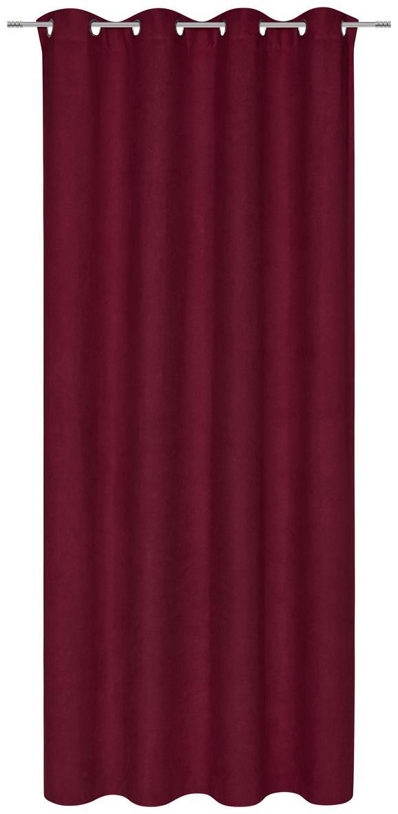 Zavesa Z Obročki Velours -top- - vinsko rdeča, Konvencionalno, tekstil (140 245 cm) - Mömax modern living