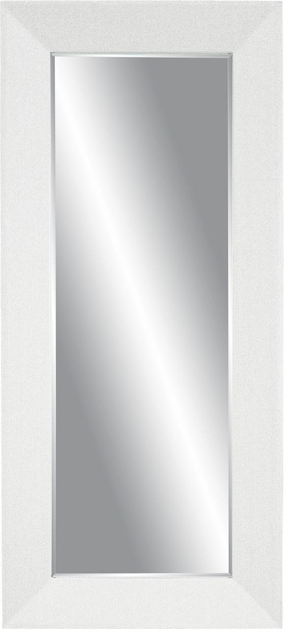 Stensko Ogledalo Glamour Bela Barva - bela, steklo/les (80/180/5cm)