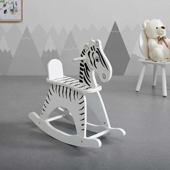 SCHAUKELPFERD in weiß/schwarz 'Filippo' - Schwarz/Weiß, MODERN, Holz (23,5/60/62,5cm) - Bessagi Kids