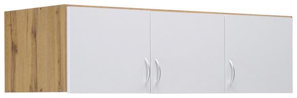 Aufsatzschrank Weiß/Wotan Eiche - Eichefarben/Alufarben, MODERN, Holzwerkstoff/Kunststoff (136/39/54cm) - Modern Living