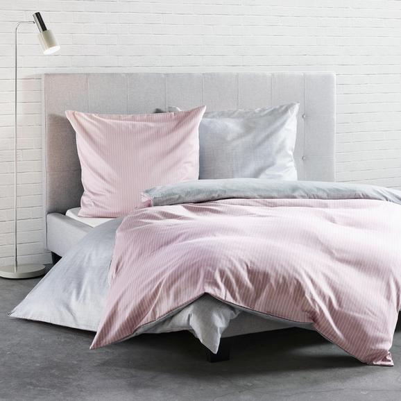 Bettwäsche Ibena Baumwollsatin - Rosa/Grau, MODERN, Textil - IBENA
