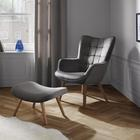 Sessel Merlin inkl. Hocker - Grau, MODERN, Holz/Textil (71/98/80cm) - Mömax modern living