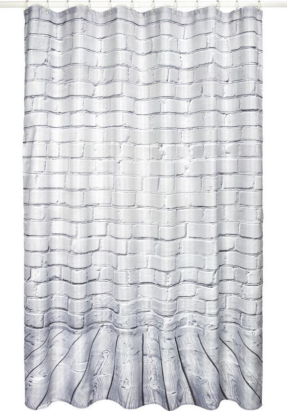 Duschvorhang Mauer Grau 180x200cm - Grau, Textil (180/200cm) - Mömax modern living
