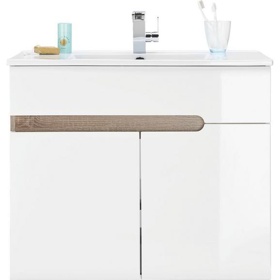 Waschtischkombi Weiß Hochglanz/Eichefarben - MODERN, Keramik (81/66/48cm) - Mömax modern living