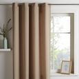 Perdea cu inele tip capsă Ulli - Culoare nisip, Material textil (140/245cm) - Mömax modern living
