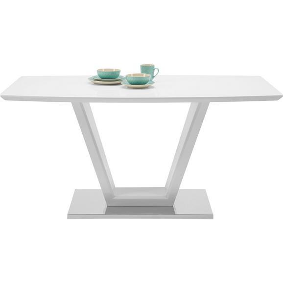 Esstisch in Weiß Hochglanz - Edelstahlfarben/Weiß, MODERN, Glas/Holzwerkstoff (160/76/90cm) - Modern Living