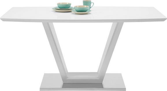 Esstisch Weiß Hochglanz - Edelstahlfarben/Weiß, MODERN, Glas/Holzwerkstoff (160/76/90cm) - Modern Living