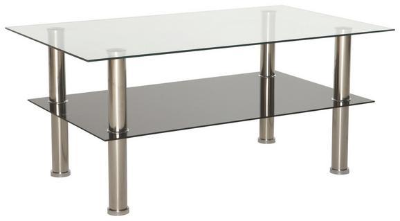 Couchtisch Glas Schwarz - Klar/Edelstahlfarben, MODERN, Glas/Metall (100/45/60cm) - Based