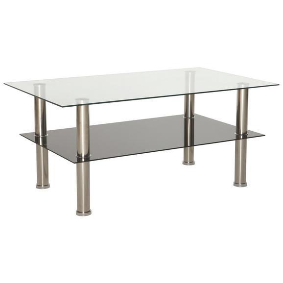 Dohányzóasztal Daytona - Átlátszó/Nemesacél, modern, Üveg/Fém (100/45/60cm)