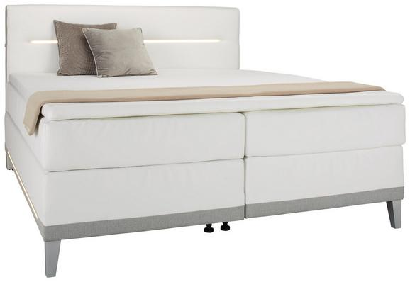 Boxspringbett Weiß/Hellgrau - Hellgrau/Weiß, KONVENTIONELL, Textil (180/200cm) - Premium Living
