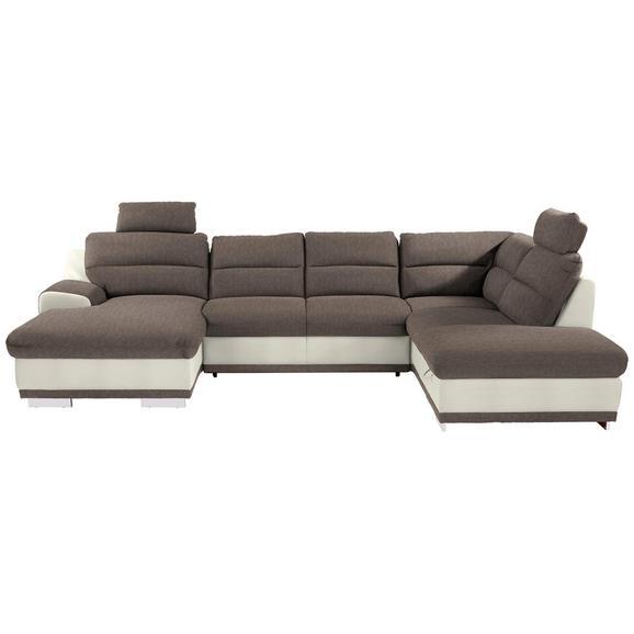 Sedežna Garnitura Seaside - sivo rjava/bela, Konvencionalno, kovina/tekstil (165/334/218cm) - Premium Living