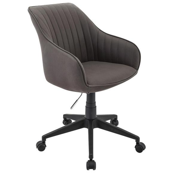 Drehstuhl in Grau matt - Schwarz/Grau, LIFESTYLE, Kunststoff/Textil (56/80,5-90/61cm)