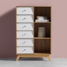 Regal Enny - Weiß/Kieferfarben, MODERN, Holz (80/124/35cm) - Modern Living