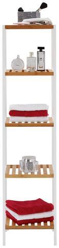 Regal aus Bambus - Naturfarben/Weiß, MODERN, Holz/Holzwerkstoff (34/140/33cm) - Mömax modern living