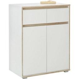 Kommode in Weiß/Eiche - Silberfarben/Weiß, MODERN, Holzwerkstoff (80/103/48cm) - Mömax modern living