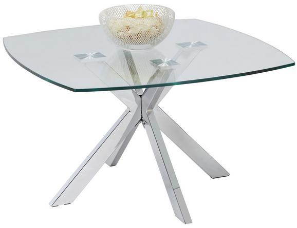 Couchtisch Glas Chromfarben - Chromfarben/Klar, MODERN, Metall (80/45/80cm) - Modern Living