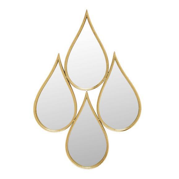 Wanddeko Drops Spiegel ca. 69x47cm - Klar/Goldfarben, Glas/Metall (69/47/3cm) - Mömax modern living