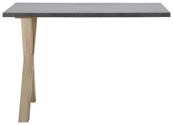 Anbauschreibtisch Graphitfarben - Eichefarben/Graphitfarben, MODERN, Holzwerkstoff (120/75/70cm) - Mömax modern living