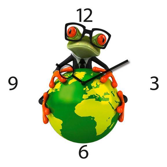 Wanduhr Frog, ca. 30x30x3,5cm - Multicolor, KONVENTIONELL, Glas/Metall (30/30/3,5cm)