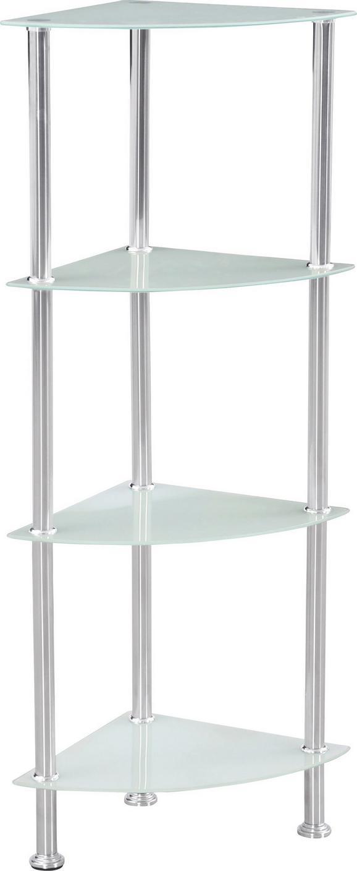 Polc Glare - fehér/nemesacél színű, modern, üveg/fém (30/99/30cm) - LUCA BESSONI