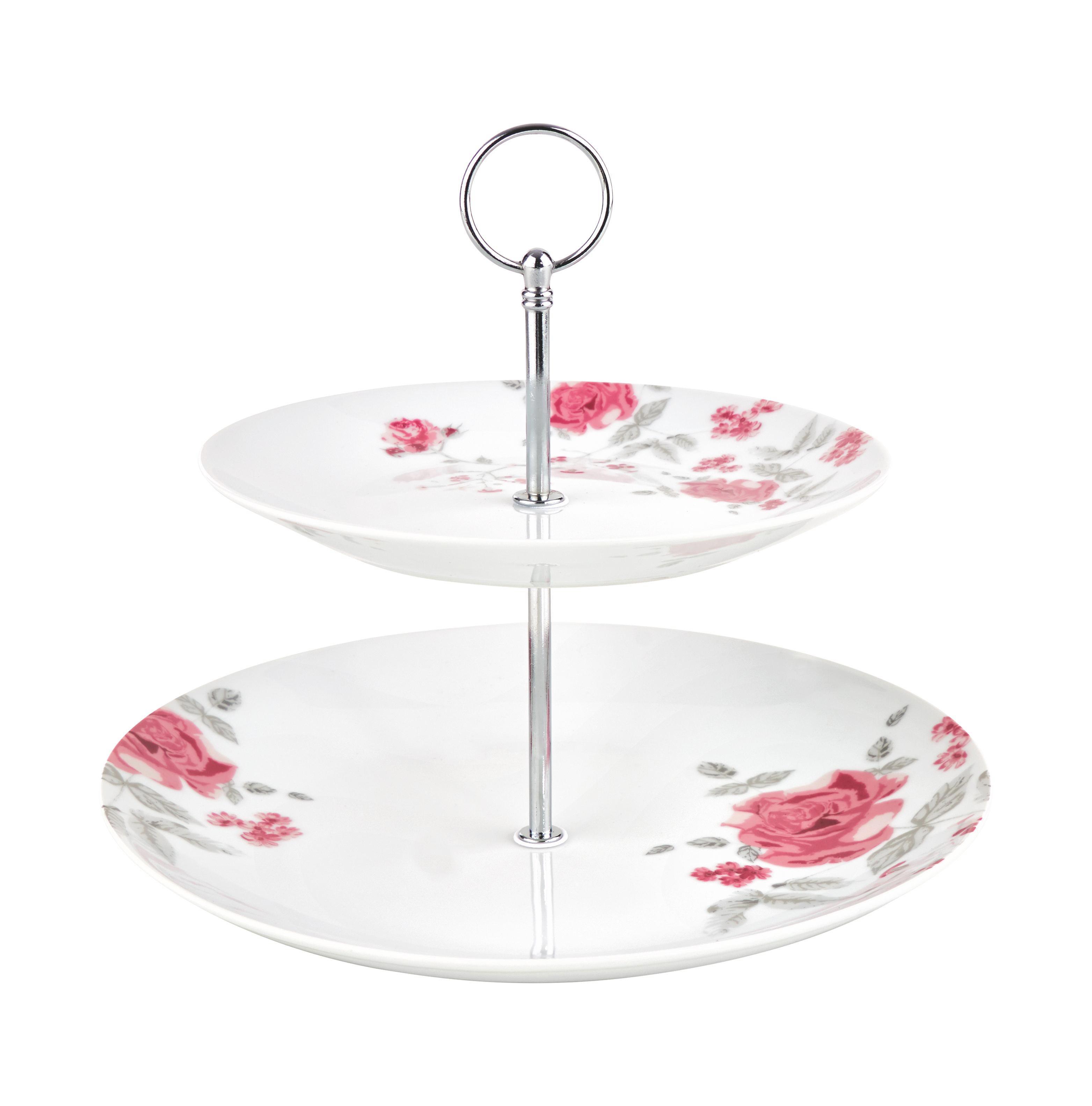Süteményes Állvány Roseanne - pink/nemesacél színű, romantikus/Landhaus, fém/kerámia (27/23cm) - ZANDIARA