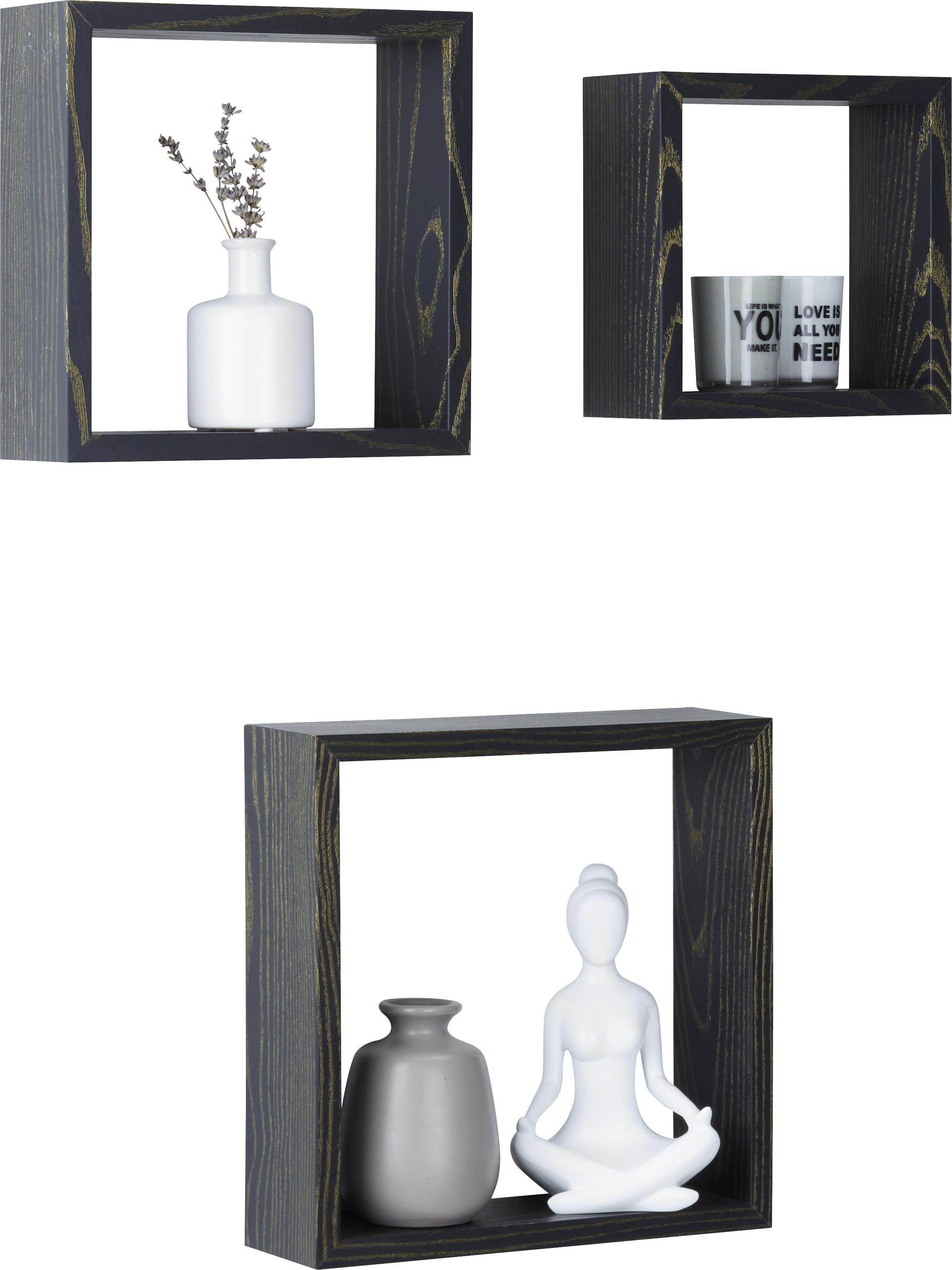 Wandboard in Schwarz/Esche - Schwarz, MODERN, Holzwerkstoff (30/25/20/30/25/20/9cm) - MÖMAX modern living