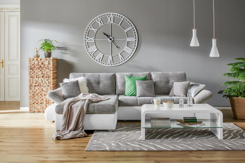 Wohnlandschaft in Weiß/Grau - Chromfarben/Schwarz, KONVENTIONELL, Kunststoff/Textil (303/185cm) - MODERN LIVING