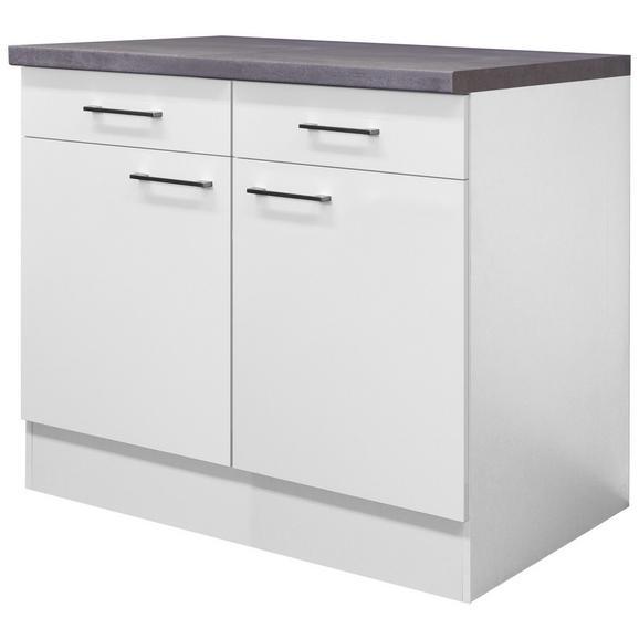 Küchenunterschrank Weiß - Edelstahlfarben/Weiß, MODERN, Holzwerkstoff/Metall (100/86/60cm) - FlexWell.ai