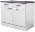 Küchenunterschrank Weiß - Edelstahlfarben/Weiß, MODERN, Holzwerkstoff/Metall (100/86/60cm)