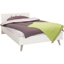 Bett Weiß 140x200cm - Eichefarben/Weiß, MODERN, Holz/Holzwerkstoff (140/200cm) - Modern Living