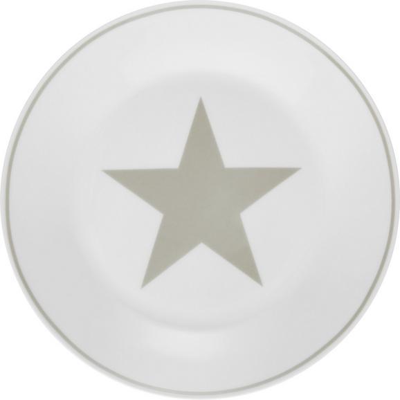 Desertni Krožnik Star - bela/svetlo siva, Moderno, keramika (20,32cm) - Mömax modern living