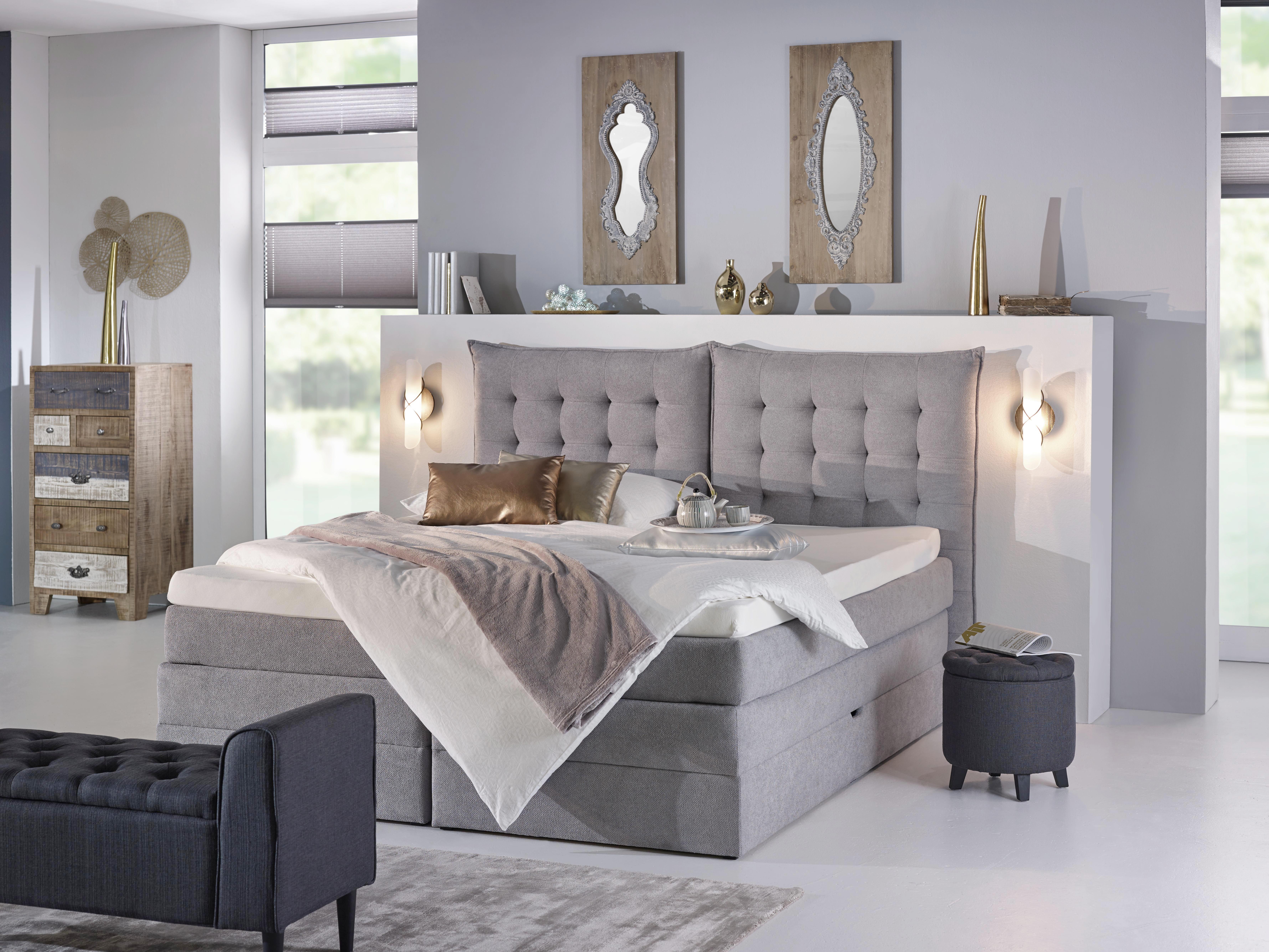 Bett in Grau, ca. 180x200cm - Schwarz/Grau, KONVENTIONELL, Kunststoff/Textil (214/198/131cm) - premium living