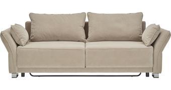 Schlafsofa in Beige mit Bettfunktion - Beige, MODERN, Textil (270/80/100cm) - Premium Living