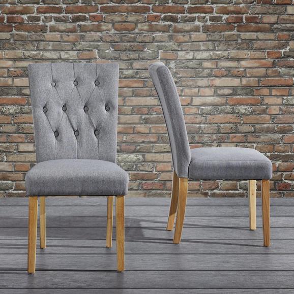 Stuhl Fanney - Buchefarben/Grau, MODERN, Holz/Textil (47,5/98/63cm) - Mömax modern living