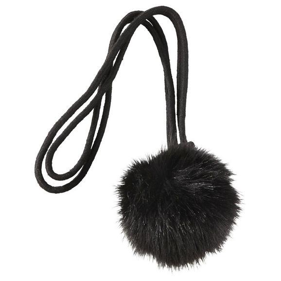 Raffhalter Pompon verschiedene Farben - Schwarz/Weiß, MODERN, Textil (38cm) - Mömax modern living