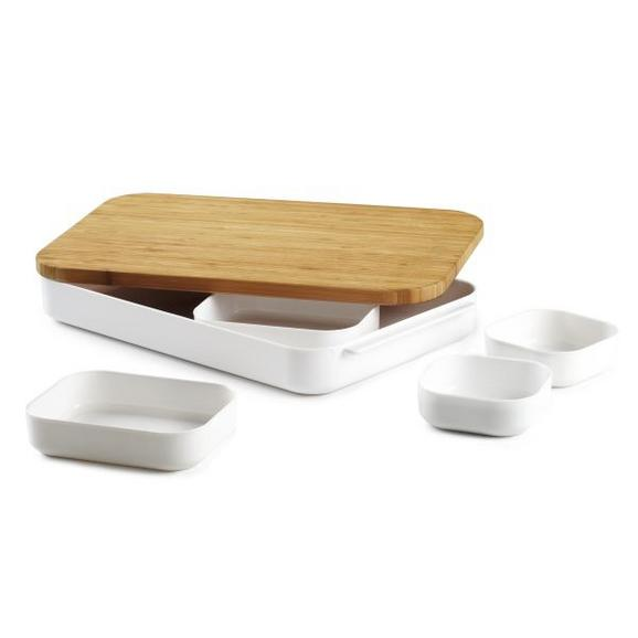 Bentobox Miko Weiß/Natur - Naturfarben/Weiß, Holz/Kunststoff (39,12/26,67/6,22cm) - Mömax modern living