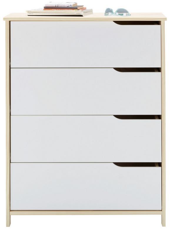Kommode Weiß/Natur - Weiß/Naturfarben, MODERN, Holz (80/102/40cm) - Zandiara