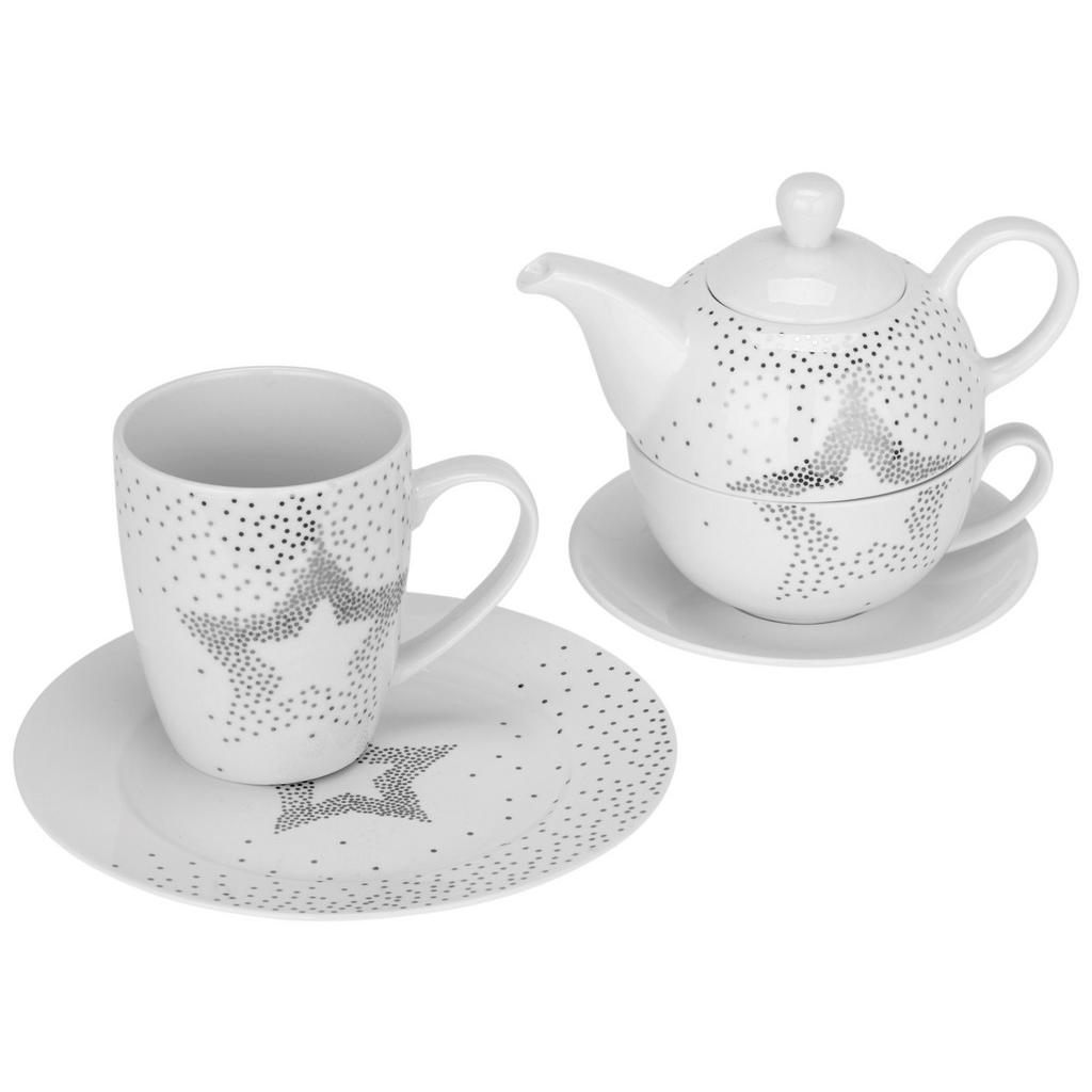 Tea-for-one-set Sparkle Weiß/silber