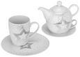 Tea-for-one-set Sparkle Weiß/silber - Silberfarben/Weiß, Keramik - Mömax modern living