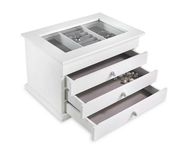 Schmuckbox Julie Weiß - Weiß, Glas/Holzwerkstoff (25/17/15cm) - Mömax modern living