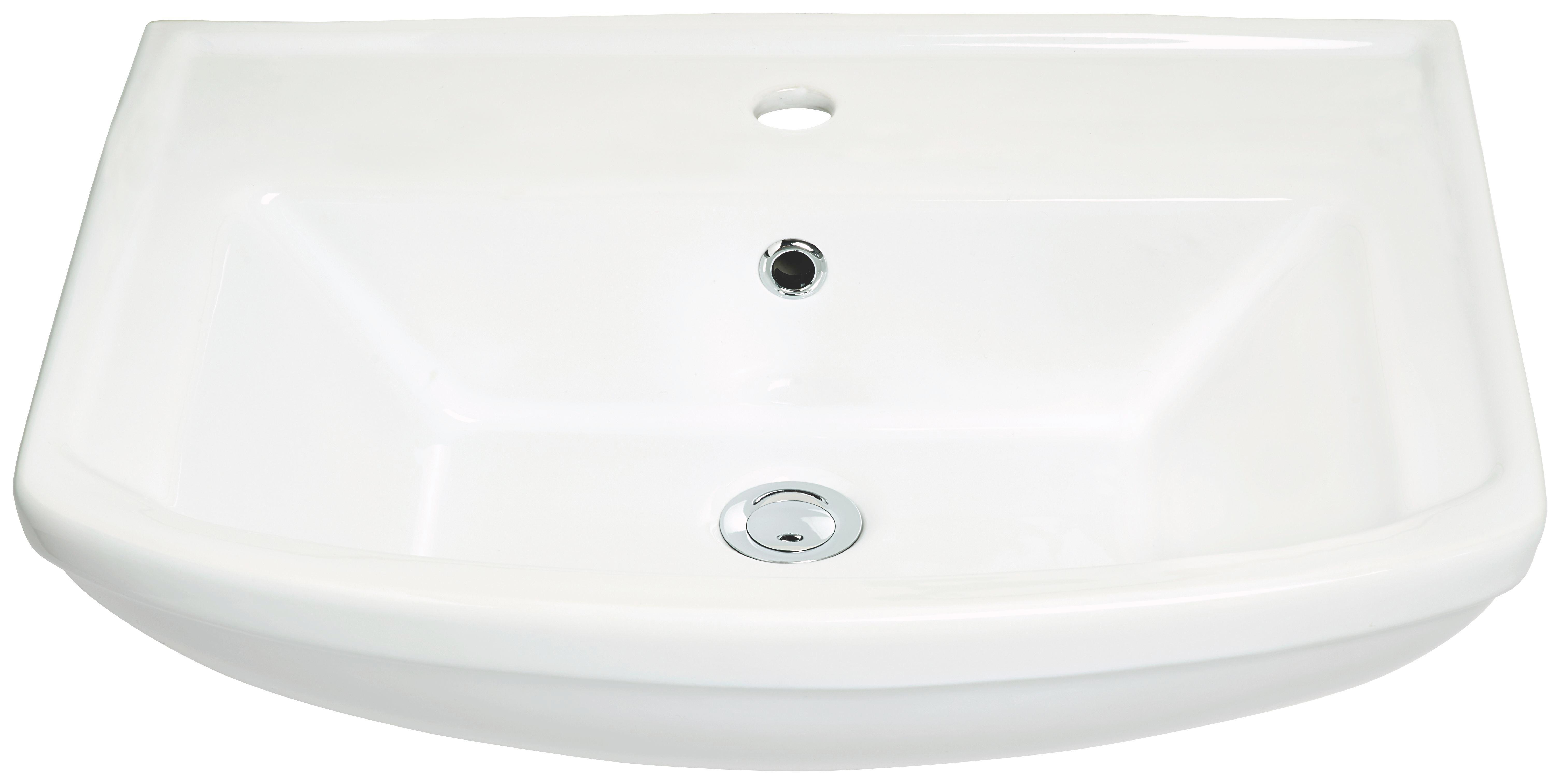 Waschbecken in Weiß, ca. 60cm - Weiß, Keramik (61/18/48,5cm) - MÖMAX modern living